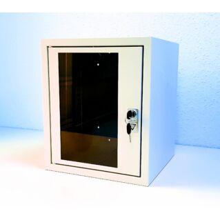 """MD egyrészes 6U magas üvegajtós NT 10"""" mini faliszekrény, 300 mm mély, RAL7035 világosszürke"""