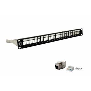 AFL HYPERSCALE CAT.6A STP 24 portos moduláris patch panel, betétekkel, 1U magas