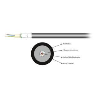 EFB INFRALAN univerzális (kül-beltéri) loose tube kábel U-DQ(ZN)BH, 12x50/125 MM OM3, LSZH, fekete