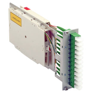 EFB előszerelt Subrack plug-in modul, 12xE2000/PC szimplex, SM 9/125 OS2, kék színű adapterekkel, pigtailekkel