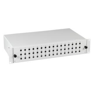"""EFB 19"""" optikai rendezőtálca, kihúzható, 48xSC szimplex/E2000/LC duplex előlappal, 2U magas"""