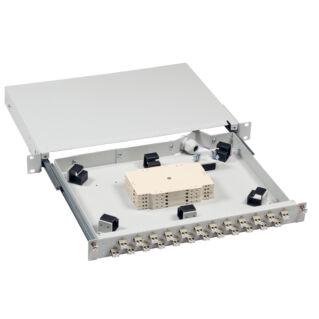 """EFB 19"""" High-End optikai rendezőtálca, teleszkópos, 24xSC szimplex/E2000/LC duplex előlappal, 1U magas"""