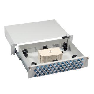 """EFB 19"""" High-End optikai rendezőtálca, teleszkópos, 48xSC szimplex/E2000/LC duplex előlappal, 2U magas"""
