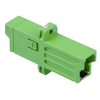 HUBER+SUHNER szimplex E2000 adapter, SM APC, zöld, csavarozható kivitel