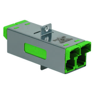 HUBER+SUHNER duplex E2000 adapter, SM APC high power 0.1 dB, zöld, csavarozható kivitel