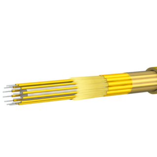 HUBER+SUHNER beltéri full-breakout kábel, 1.4 mm, ⌀9.0 mm, 12x9/125µm G652.D/G657.A1, LSFH, sárga