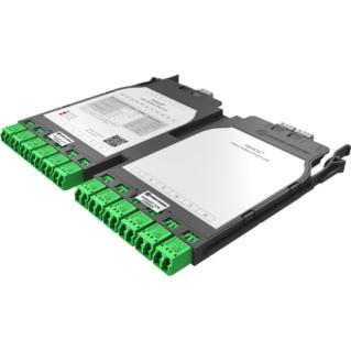 HUBER+SUHNER IANOS MTP-LC átalakító modul, dupla, Base-8, 12xLCD elöl, 3xMTP8 female hátul, SM OS2 APC