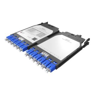 HUBER+SUHNER IANOS MTP-SC átalakító modul, dupla, Base-12, 12xSC elöl, 1xMTP12 male hátul, SM OS2