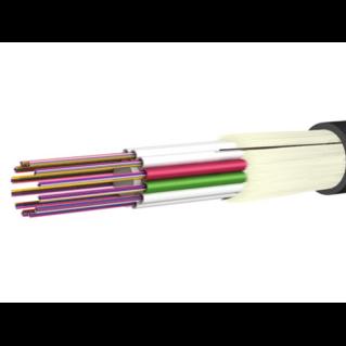 HUBER+SUHNER Jellyfree univerzális (kül-beltéri) loose tube kábel, ⌀14.5 mm, 144x9/125 G652.D, LSFH, fekete, üvegharisnya védelemmel