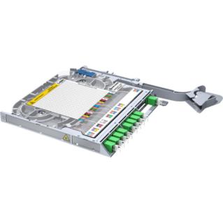 HUBER+SUHNER LISA Side Access előszerelt integrált PLC splitter rendezőkazetta, 2 x 1:8 PLC splitterrel, LC/APC felületre előszerelve