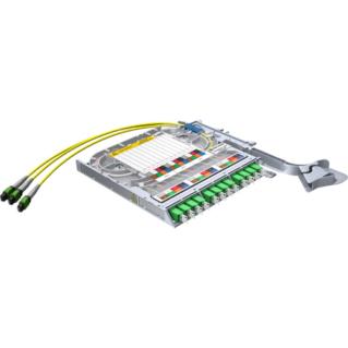 HUBER+SUHNER LISA Side Access előszerelt MTP-LC duplex átváltó rendezőkazetta, 24 szálas, 3xMTP8 - 12xLC duplex, SM 9/125 OS2