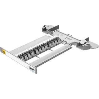 HUBER+SUHNER LISA Side Access előszerelt patch-to-patch rendezőkazetta, 12xMTP adapterrel