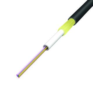HUBER+SUHNER zselétöltött univerzális (kül-beltéri) loose tube kábel, ⌀3.5 mm, 12x9/125 G652.D, LSFH, fekete