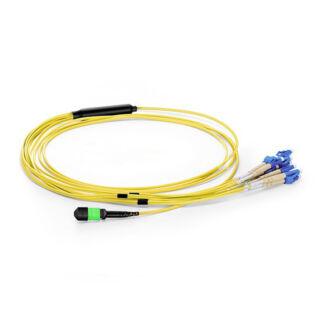 12 szálas MPO-LC/PC fanout kábel, female, monomódusú OS2 9/125 µm, sárga, L=1 méter