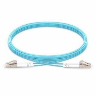 LC-LC duplex optikai patch kábel, multimódusú OM3 50/125 µm, türkiz, L=3 méter
