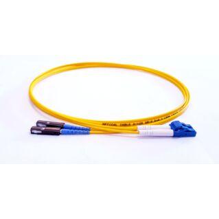 MU/PC-LC/PC duplex optikai patch kábel, monomódusú OS2 9/125 µm, sárga, L=1 méter