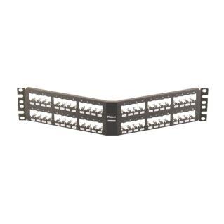 PANDUIT 48 portos döntött Mini-Com All Metal moduláris patch panel árnyékolt betétekhez, 2U