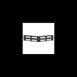 PANDUIT 48 portos döntött Mini-Com moduláris patch panel hátulról bepattintható 6-os blokkokkal, 2U