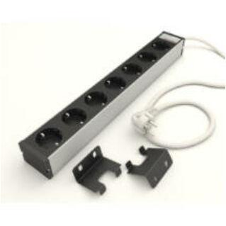 """KONTASET 7-es elosztó, 19"""" szerelő adapterrel, 2.5 m, KS240, fekete, újravezetékelhető"""
