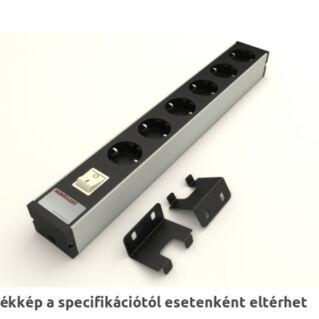 """KONTASET 6-os elosztó kapcsolóval, 19"""" szerelő adapterrel, 2m, KS240, fekete, újravezetékelhető"""