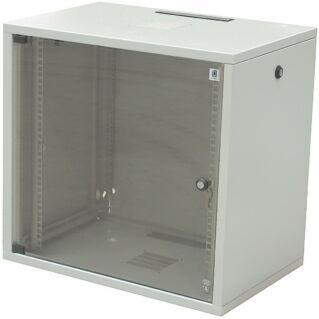"""ZPAS SU 19"""" 18U magas 600x400 mm egyrészes üvegajtós hálózati faliszekrény, világosszürke"""