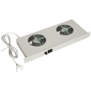 ZPAS 1U magas ventilátor panel 2 ventilátorral, világosszürke