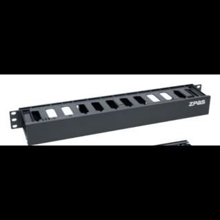 ZPAS 1U magas műanyag elülső oldali fogazott kábelrendező elem, fekete