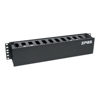 ZPAS 2U magas műanyag elülső oldali fogazott kábelrendező elem, fekete